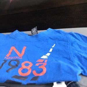 Nautica boys swim trunks and blue logo shirt